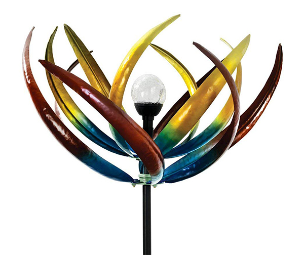 BITS AND PIECES Original Solar Multi-Color Tulip Wind Spinners