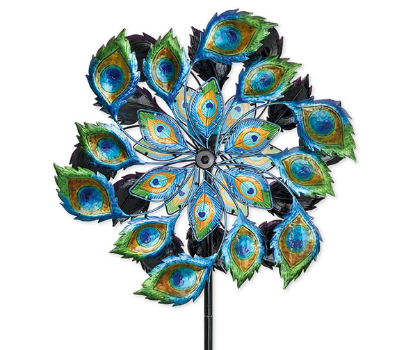 BITS AND PIECES Solar Peacock Wind Spinners