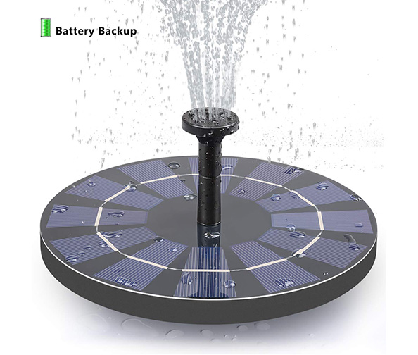 Solar Fountain with Battery Backup by Feelle