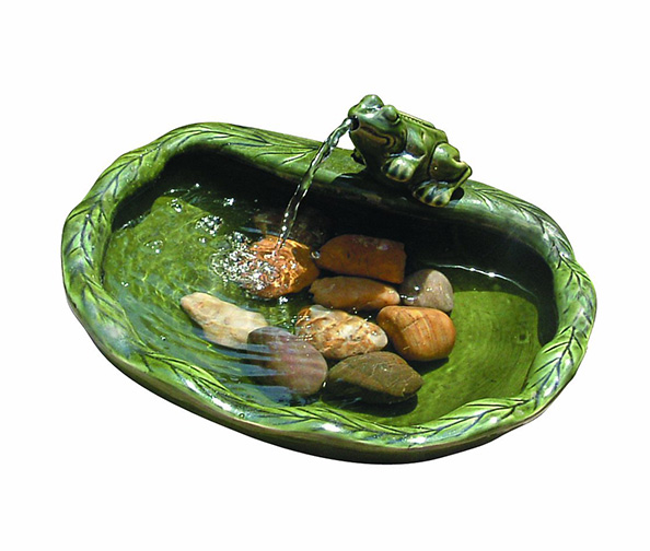 Solar Powered Ceramic Frog Water Feature by STI GROUP