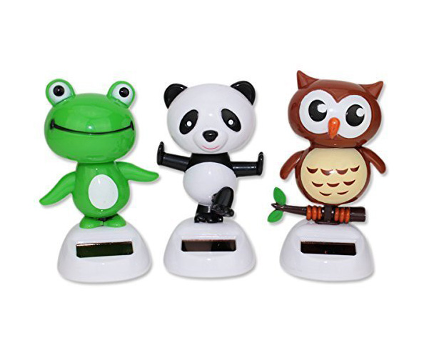 3-Pack Friendly Animals Solar Bobblehead Toys