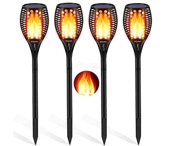 AITYVERT Solar Flame Lights, 4 Pack