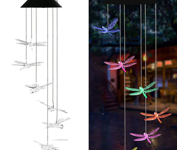 AVEKI Solar Dragonfly LED and Wind Chime