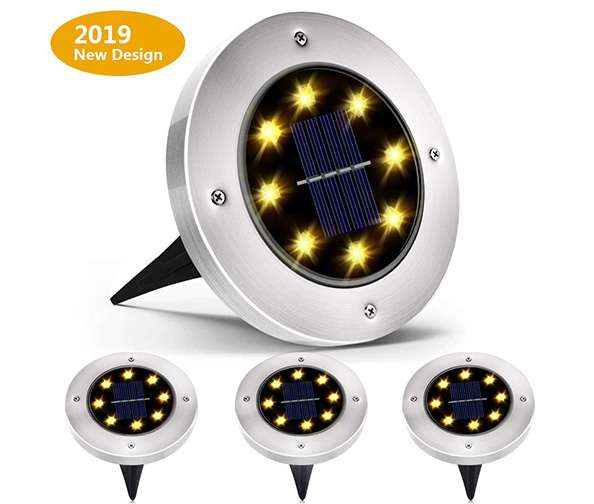 Biling Solar Disk Lights Outdoor (4-pack)