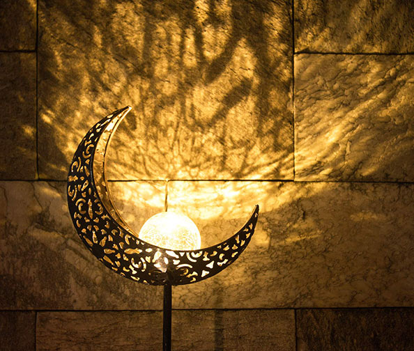 Homeimpro Garden Solar Lights Moon Glass Globe