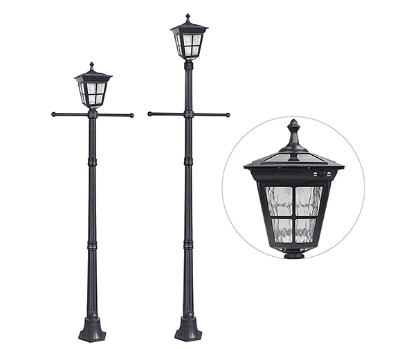 Kemeco 6 LED Cast Aluminum Solar Lamp Post Light with Arm