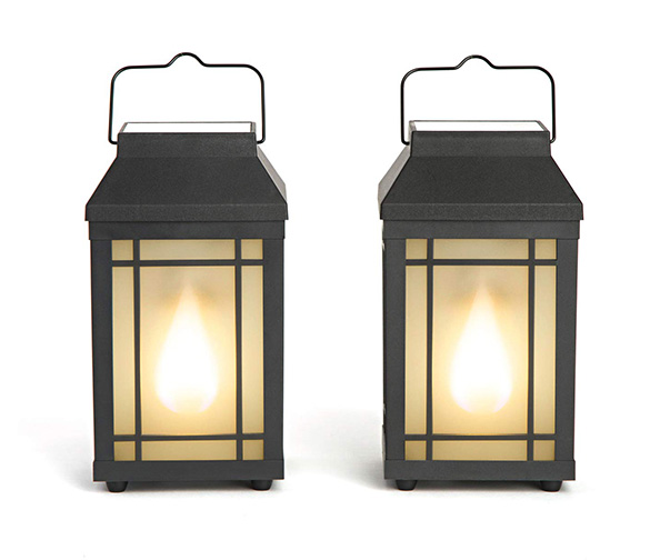LampLust Outdoor Solar Lanterns with Flickering Flame