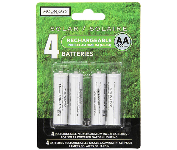 Moonrays OCYLUP-AB7 97125 Rechargeable AA Batteries for Solar-Powered Lights