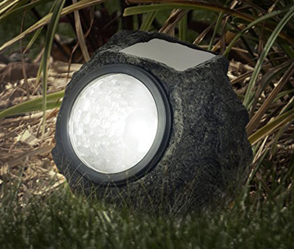 PURE GARDEN Solar Rock Lights (Set of 4)