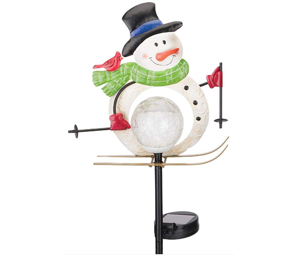 Regal Art & Gift 12031 Solar Snowman, Skiing Garden Stake