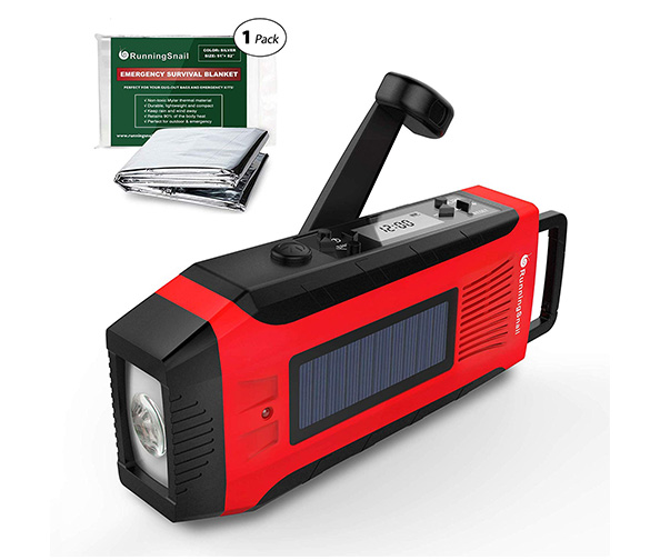 RunningSnail AM/FM NOAA Weather Emergency Solar Digital Crank Radio