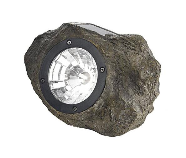 STERNO HOME GL28560ST Solar Polyresin Rock Spot Light