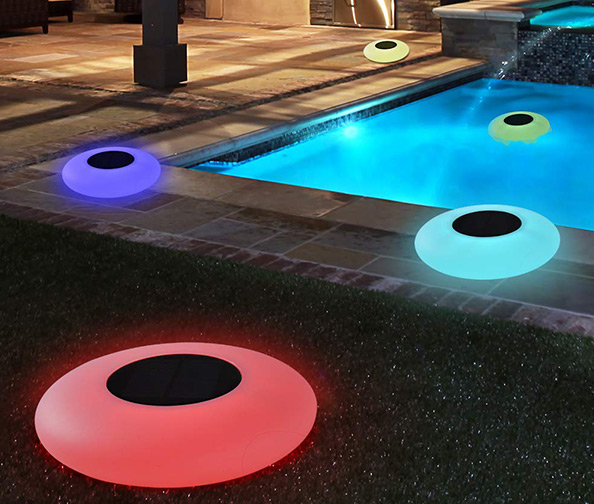 Solar Floating Light with Multi-Color LED Waterproof Outdoor Garden Lights by Bibly