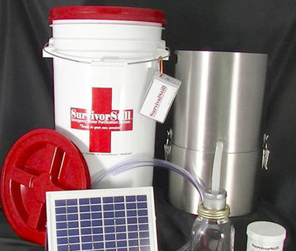 Solar-Powered Non-Electric Emergency Water Distiller and Water Purifier by Solar Still