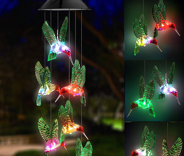 Topspeeder Solar Hummingbird Wind Chime